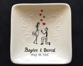 Engagement ring dish , Wedding gift - Personalized Hand Painted Ceramic Ring Dish, ring holder- Anniversary plate, Valentine's Day