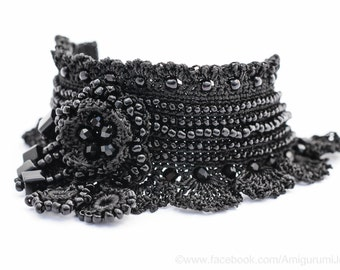 Black Crochet Bracelet Cuff. Beaded Crochet Bracelet. Freeform Crochet Bracelet Cuff. Crochet Jewelry. MADE TO ORDER