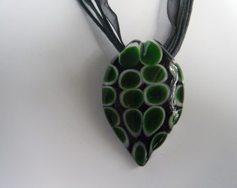 Glass Pendant Necklace/ Green Polk a Dot with Black Background / On black bibbon and twine/ Lobster Clasp/Only For Me Jewelry/Valentine gift