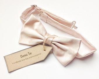 mens bow tie blush satin, blush bow tie, duchess satin bow tie, pink bow tie, blush pink
