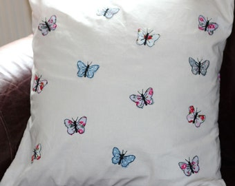 Handmade Appliqued Floral Butterfly Cushion