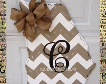 Monogram Chevron Georgia  Door Hanger Sign