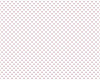 Red Dot on White Yardage by Riley Blake Designs - C660-80 Red