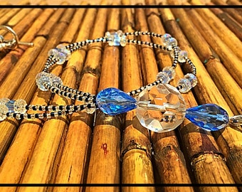 Blue Beaded Lanyard - Beaded Lanyard - ID Holder - Badge Holder - Keychain - Office Accessories - Blue Lanyard