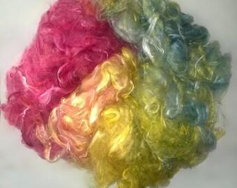 ButterSilk Fiber - Make Art Batts -Art yarn  & More- Fluffy soft and textured- Tulip Fields