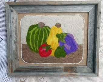 Still Life Wool Art in Frame, needle felted wool and thread painting on burlap with rustic barn siding frame, handmade, ready to hang,