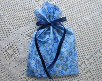 Fabric Gift Bag 6.5 x 9.5 inch, Jewelry box size, Star of David on blue, Reusable Stylish Festive gift wrap bag, Environmentally safe