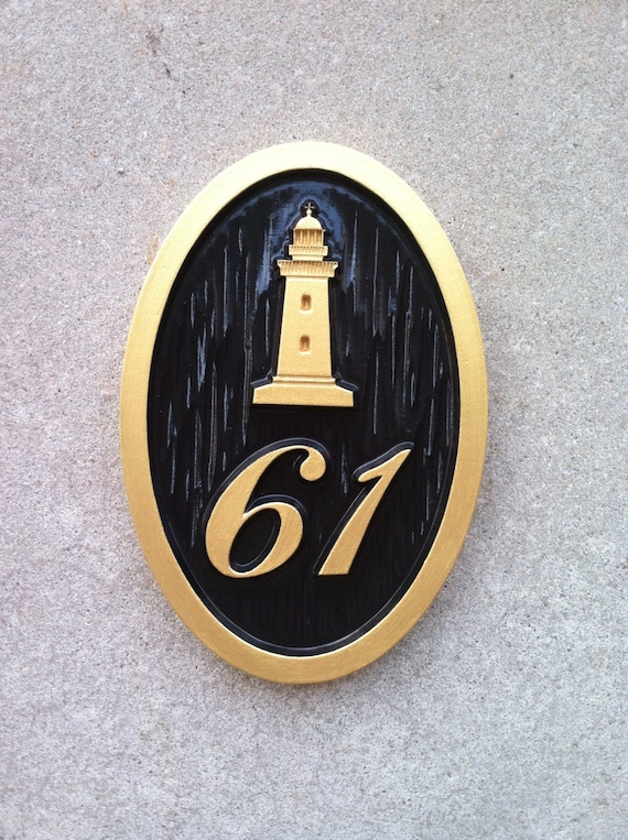 nautical carved street address plaque house number with. Black Bedroom Furniture Sets. Home Design Ideas