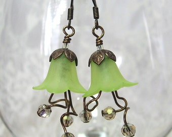 Green Flower Tangled on the Vine Earrings in Antiqued Brass - Stocking Stuffer, Gift for Her