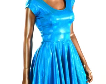 Peacock Blue Hologram Holographic Scoop Neck Cap Sleeve Fit and Flare Skater Skate Dress Rave Clubwear EDM -150889