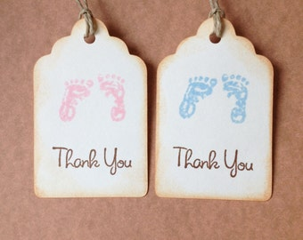 Baby Shower Tags, Baby Favor Tags, 12, Baby Shower Gift Tags, Baby Footprints, Rustic, Thank You Tag, Baby Girl, Baby Boy, Vintage Inspired