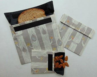 Reusable Snack and Sandwich Bags, Reusable Snack Bag Set of Three, Reusable Bags