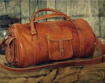 """Leather Sports Bag 22"""" / Leather Duffle Bag / Leather Travel Bag / Gym Bag / Cabin Travel Bag / Weekender Bag / Overnight Bag / Leather Bag"""
