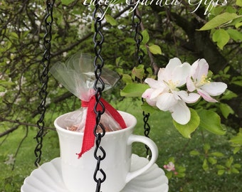 Hanging Teacup Birdfeeder with Saucer - Includes Starter Seed Feed as shown, Hanging Tea Cup Bird Feeder