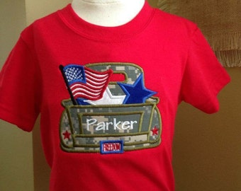 Patriotic military appliqued truck