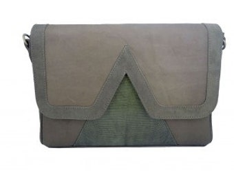 Bag graphics 'V' leather suede and lizard taupe and khaki