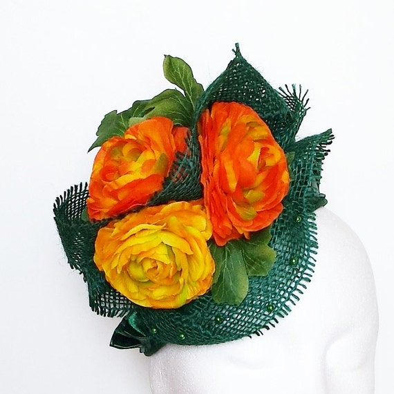 GREEN-ORANGE cocktail hat, designer hat, fashion hat, gala hat, Royal ...