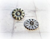 6 Antique Bronze Sunflower Metal Buttons
