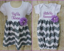 Big Sister Little Sister Outfit - Girls Chevron Dress - Newborn Gown - Grey - Lavender - Going Home Outfit - Baby Shower Gift