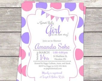 Dots Girl Baby Shower Invitation pink and purple polkadots / custom colors / Printable digital Invitations