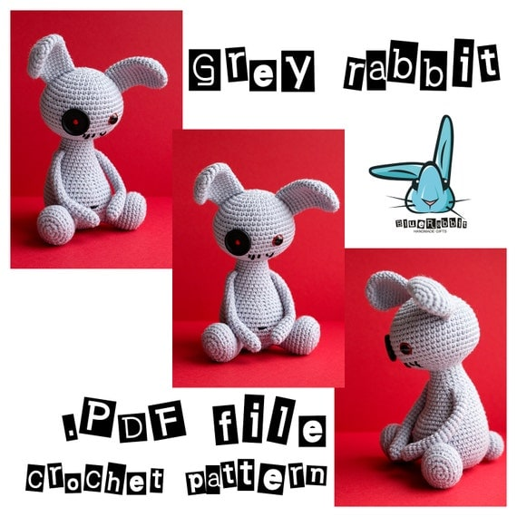 Amigurumi Ugly Doll : Grey Rabbit doll amigurumi crochet pattern ugly by ...