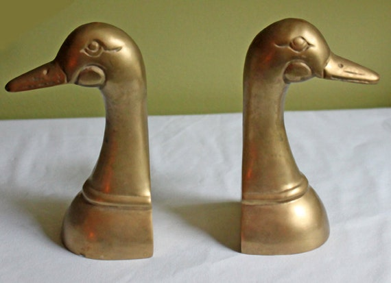 Vintage brass book ends shaped as ducks set of two sturdy - Sturdy bookends ...