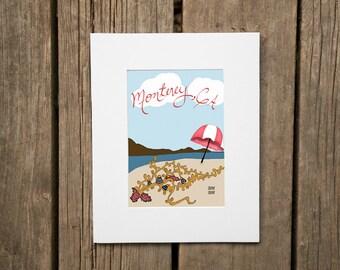 Monterey California City Beach Art Mounted Matted Signed Illustration Glicee Art