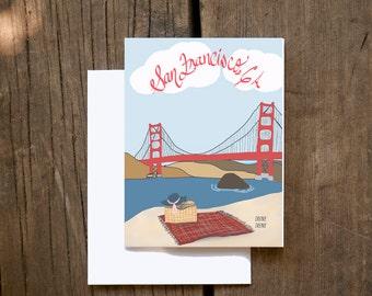 Note Card Set San Francisco, California, Golden Gate Bridge Illustration Note Card Set
