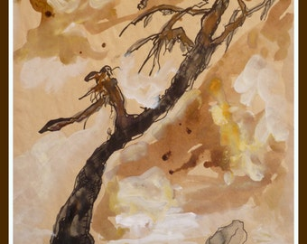 ORIGINAL Chinese view. Old tree in a stony desert. Original Handmade Fine Aquarel On Postpaper.