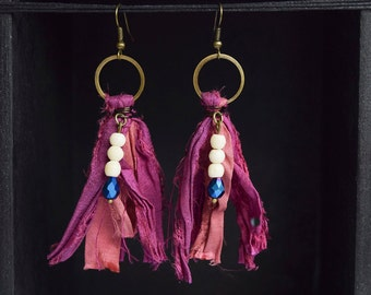 Red Violet and Muted Salmon Sari Silk Earrings, Tribal Gypsy, Boho Jewelry, Bohemian Style