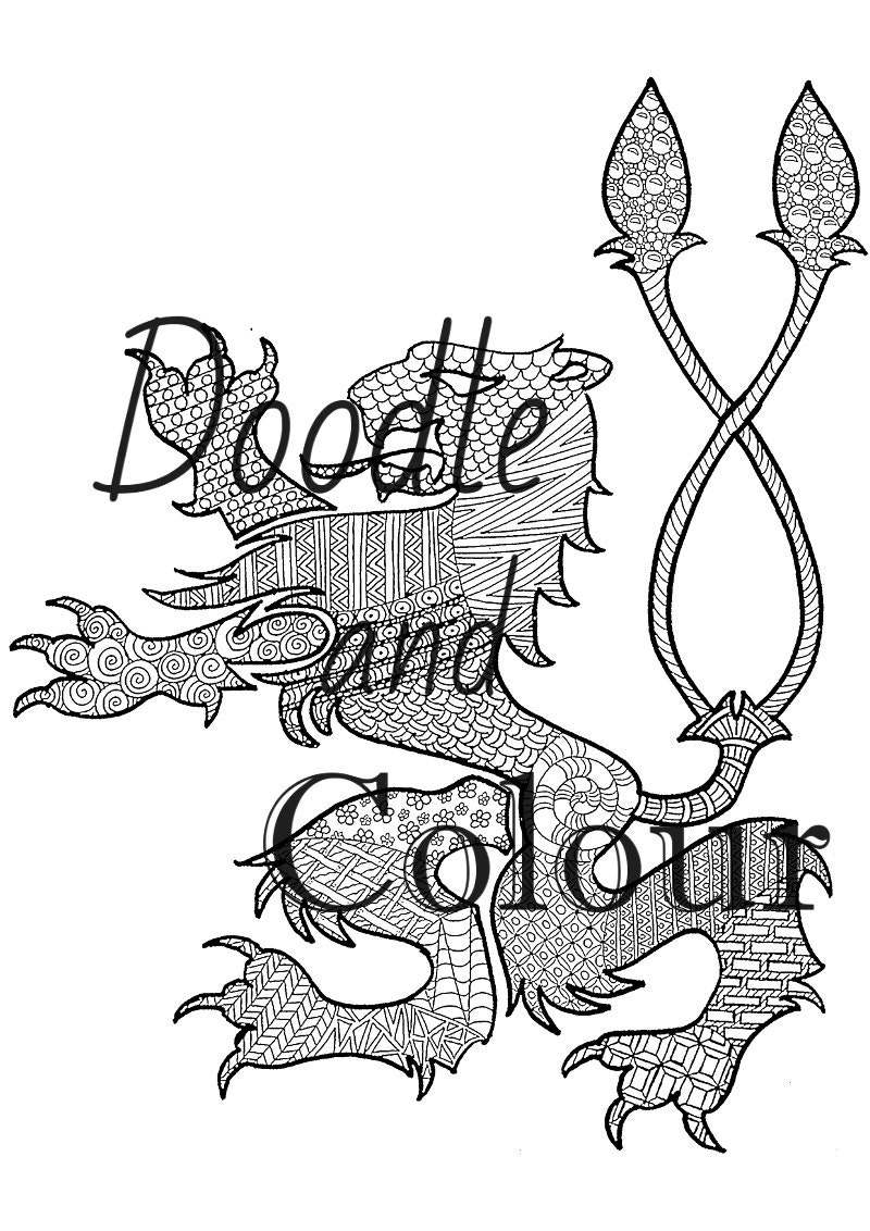 Lion Adult Colouring Page Instant Download Printable