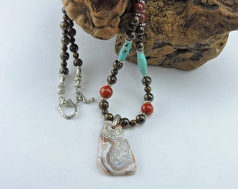 Men's natural stone necklace of CRAZY LACE AGATE with  Jasper and Turquoise accent beads