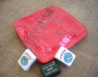 Fire Engine Red Mahjong Plate - Oriental Dish - Mahjong Pottery - Soap Dish