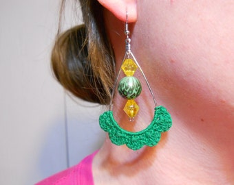 Beaded Earrings, Earrings, Green and Yellow Earrings, Crochet Earrings, Green Crochet Earrings