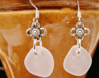 Frosty White Sea Glass Earrings