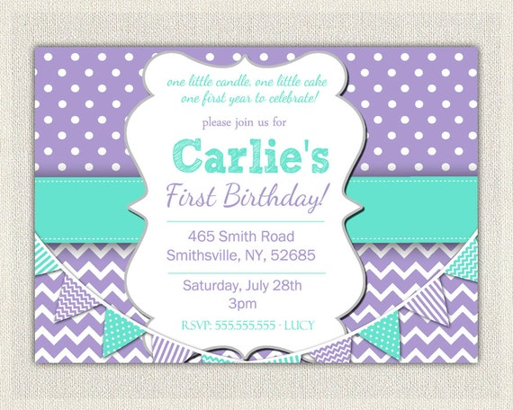 St Birthday Invitation Purple And Aqua Girls Purple Birthday - 1st birthday invitations girl purple