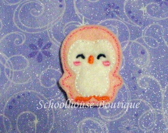 Pink Penguin felties, feltie, machine embroidered, felt applique, felt embellishment, hair bow supplies