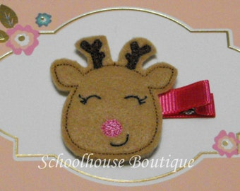 Smiling Reindeer with Pink Nose Felt Hair Clips, Stocking Stuffer, feltie hair clip, party favor, felt hair clip, felt clippie