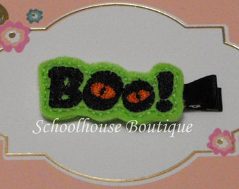 Boo! Halloween Felt Hair Clips with your choice of ribbon color,Felties,Feltie Hair Clip,Felt Hairbow,Felt Hair Clippie,Party Favor