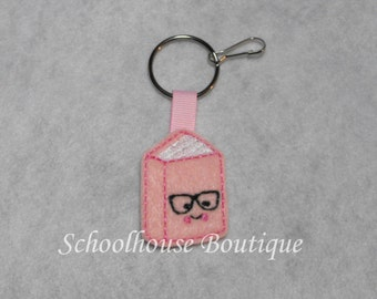 Pink or Blue Geeky Nerd Book Felt Zipper Pull, Felt Keychain Fob, Felt Key Ring, Felt Key Fob, Purse Accessory, Luggage Tag