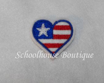 Heart Flag felties - feltie - July 4th - Machine embroidered - felt applique - felt embellishments-hairbow center-scrapbook
