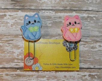Set of 2 Kitty Cat felt Paperclip bookmark, felt bookmark, paperclip bookmark, feltie paperclip, christmas gift, teacher gift