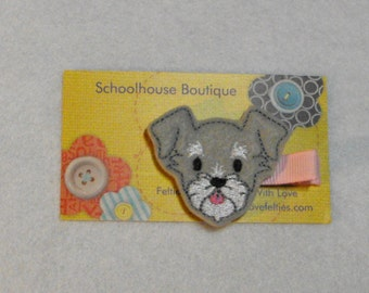 Schnauzer Puppy Dog Felt Hair Clips, Feltie Hair Clip, felt clippie, felt hair bow, felt hair clip, party favor