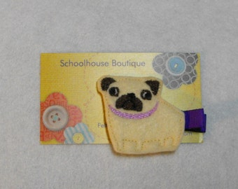 Pug Puppy Dog Felt Hair Clips, Feltie Hair Clip, felt clippie, felt hair bow, felt hair clip, party favor