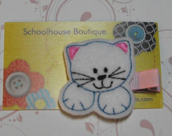 White Kitty Cat Kitten Felt Hair Clips - Felties - Feltie Hair Clip - Felt Hairbow - Felt Hair Clips - Felt Hair Clippie-Party Favor
