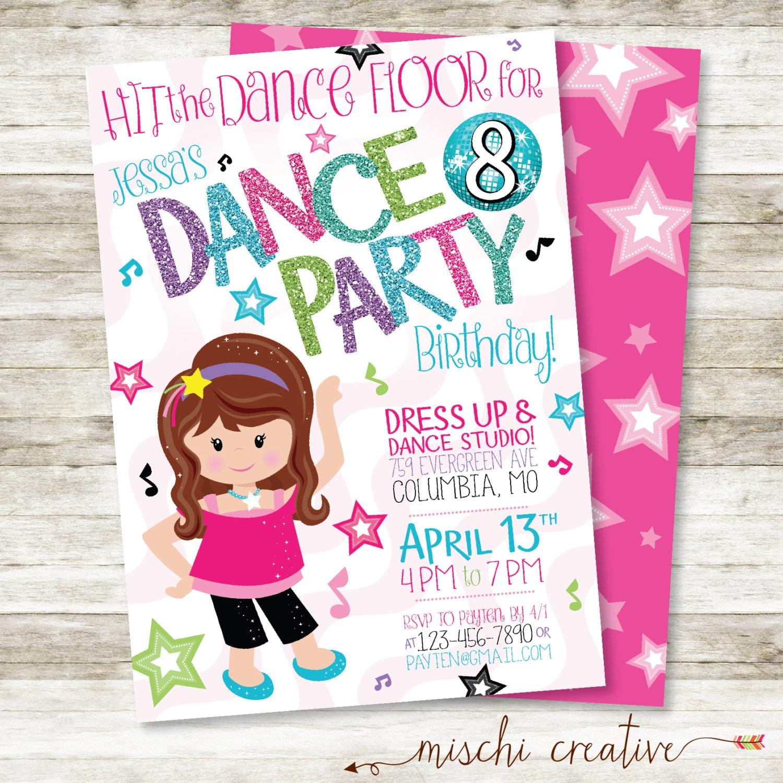 dance party birthday invitation little girl dancing birthday