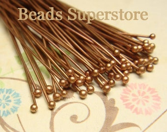 2 Inch (50 mm) Antique Copper-Plated Brass Ball End Head Pin - Nickel Free and Lead Free - 100 pcs