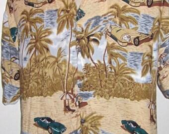 Vintage Hawaiian Print Shirt 90's Tropical Beige, Khaki & Blue Print -Short Sleeve Size Large