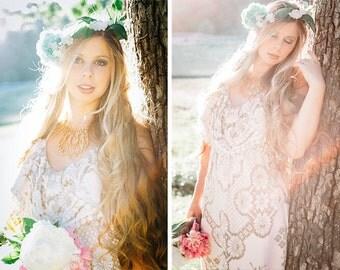 Crochet Lace Dress, Crochet Lace Wedding Dress, Boho Wedding Dress, Crochet Lace Ruffle Dress, Vintage Wedding Dress, Lace Ruffle Halter