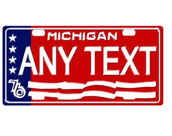 Custom, personalized state license plate - Michigan 1976 - free shipping